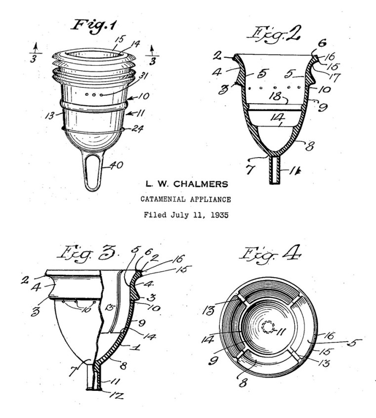 Leta 1935 je bila izdelana prva menstrualna skodelica